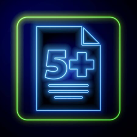 Glowing neon Test or exam sheet icon isolated on blue background. Test paper, exam or survey concept.  Vector Illustration Çizim