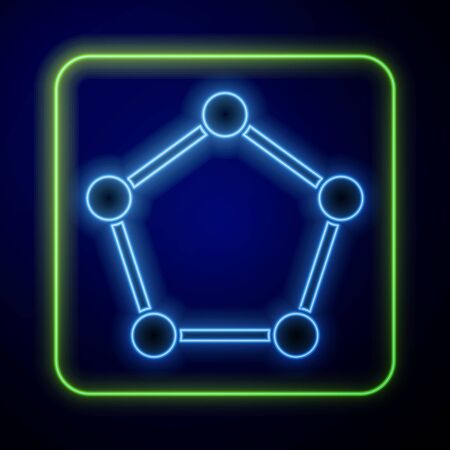Glowing neon Geometric figure Pentagonal prism icon isolated on blue background. Abstract shape. Geometric ornament.  Vector Illustration