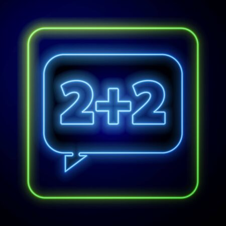 Glowing neon Math system of equation solution on speech bubble icon isolated on blue background.  Vector Illustration