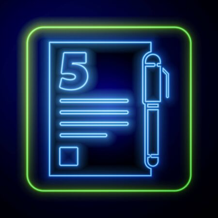 Glowing neon Test or exam sheet and pen icon isolated on blue background. Test paper, exam or survey concept.  Vector Illustration
