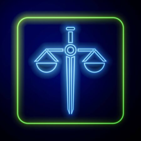 Glowing neon Scales of justice icon isolated on blue background. Court of law symbol. Balance scale sign. Vector Illustration Иллюстрация