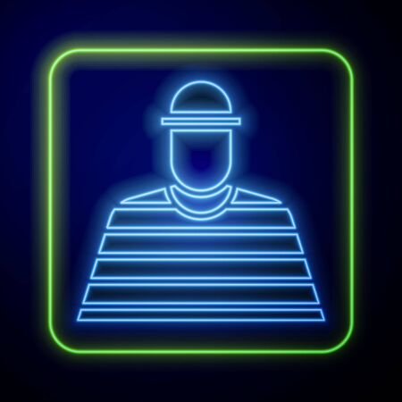 Glowing neon Prisoner icon isolated on blue background. Vector Illustration Çizim