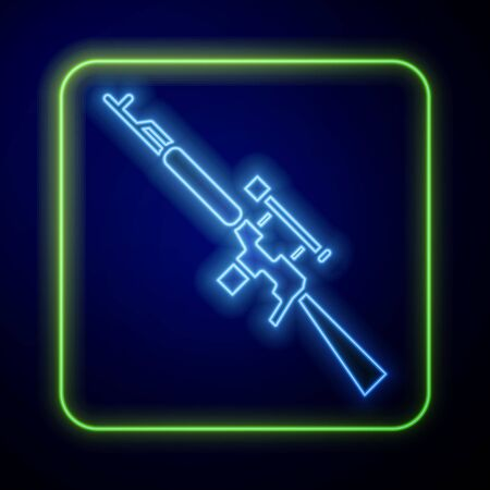 Glowing neon Sniper rifle with scope icon isolated on blue background. Vector Illustration