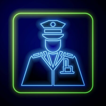 Glowing neon Police officer icon isolated on blue background. Vector Illustration Illustration