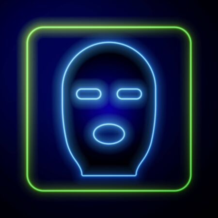 Glowing neon Thief mask icon isolated on blue background. Bandit mask, criminal man. Vector Illustration Çizim
