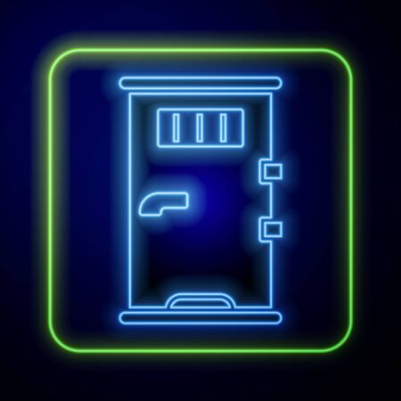 Glowing neon Prison cell door with grill window icon isolated on blue background. Vector Illustration