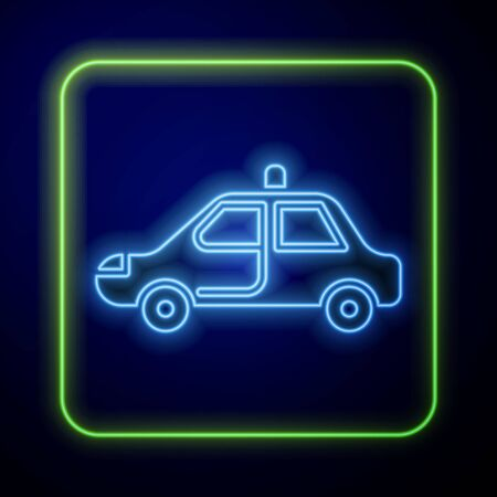 Glowing neon Police car and police flasher icon isolated on blue background. Emergency flashing siren. Vector Illustration