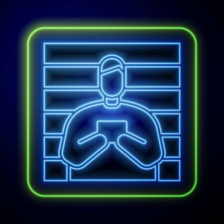 Glowing neon Suspect criminal icon isolated on blue background. The criminal in prison, suspected near the board. Vector Illustration Çizim