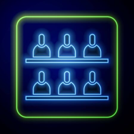 Glowing neon Jurors icon isolated on blue background. Vector Illustration Иллюстрация