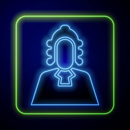Glowing neon Judge icon isolated on blue background. Vector Illustration