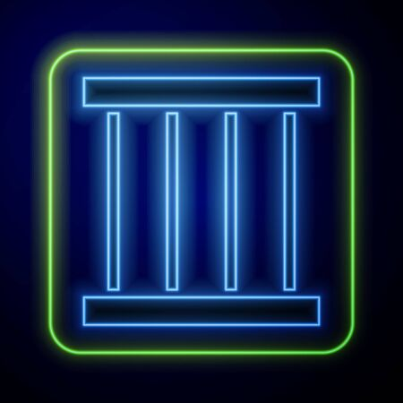 Glowing neon Prison window icon isolated on blue background. Vector Illustration Ilustrace