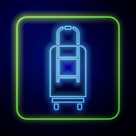 Glowing neon Suitcase for travel icon isolated on blue background. Traveling baggage sign. Travel luggage icon. Vector Illustration Иллюстрация