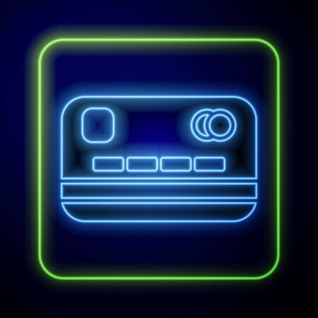 Glowing neon Credit card icon isolated on blue background. Online payment. Cash withdrawal. Financial operations. Shopping sign. Vector Illustration Иллюстрация