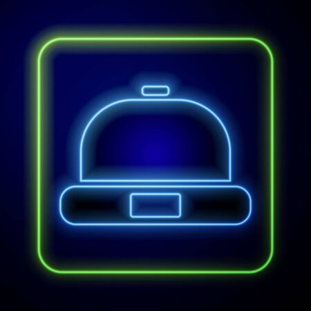 Glowing neon Beanie hat icon isolated on blue background. Vector Illustration