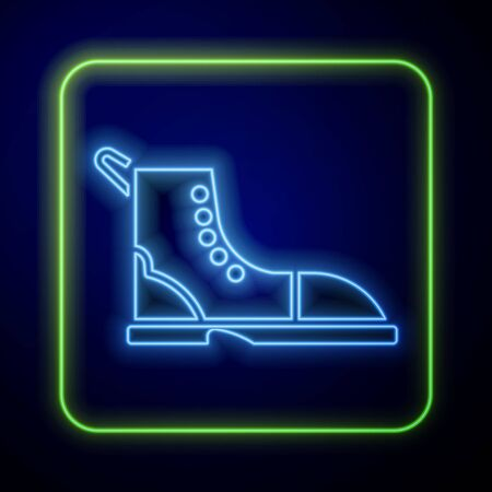 Glowing neon Hiking boot icon isolated on blue background. Vector Illustration Иллюстрация