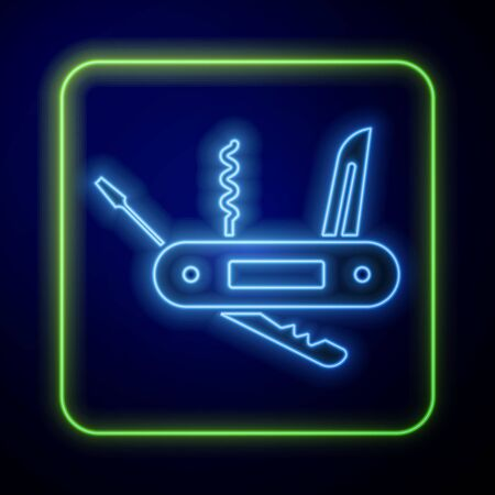 Glowing neon Swiss army knife icon isolated on blue background. Multi-tool, multipurpose penknife. Multifunctional tool. Vector Illustration