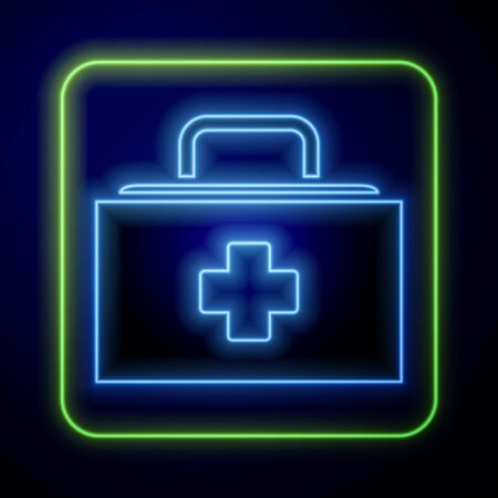 Glowing neon First aid kit icon isolated on blue background. Medical box with cross. Medical equipment for emergency. Healthcare concept. Vector Illustration