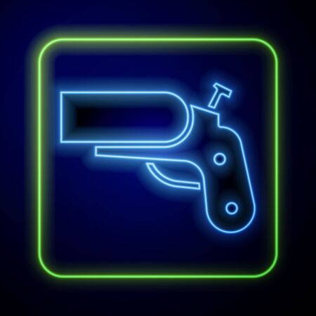 Glowing neon Flare gun pistol signal sos icon isolated on blue background. Emergency fire shoot target smoke. Orange 911 launcher. Vector Illustration