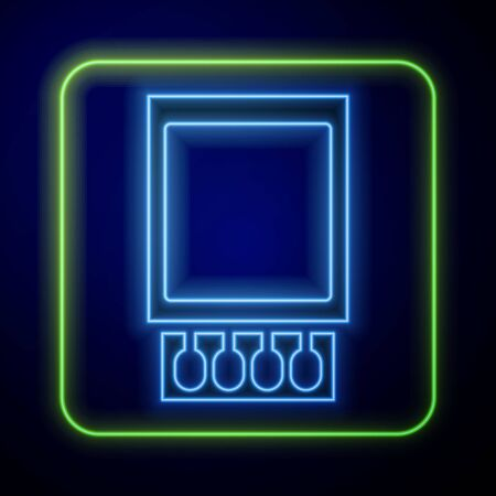 Glowing neon Open matchbox and matches icon isolated on blue background. Vector Illustration