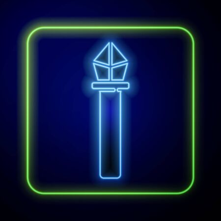 Glowing neon Magic staff icon isolated on blue background. Magic wand, scepter, stick, rod. Vector Illustration Vecteurs