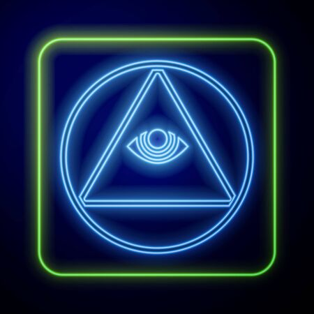 Glowing neon Masons symbol All-seeing eye of God icon isolated on blue background. The eye of Providence in the triangle. Vector Illustration
