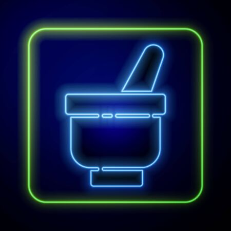 Glowing neon Magic mortar and pestle icon isolated on blue background. Vector Illustration Çizim