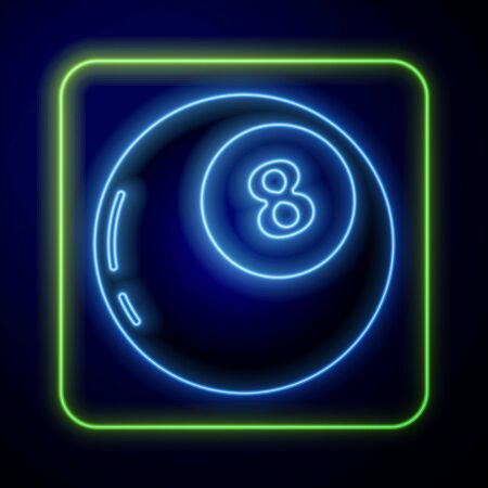 Glowing neon Magic ball of predictions for decision-making icon isolated on blue background. Crystal ball. Vector Illustration Vecteurs