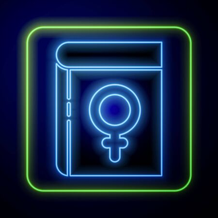 Glowing neon Book about women icon isolated on blue background. 8 March. International Happy Women Day. Vector Illustration