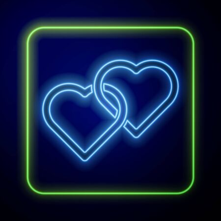 Glowing neon Two Linked Hearts icon isolated on blue background. Romantic symbol linked, join, passion and wedding. Happy Women Day. Vector Illustration