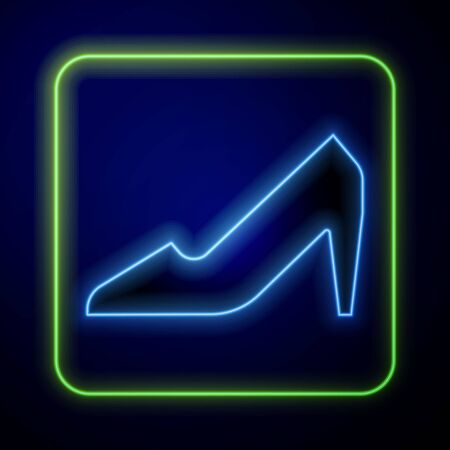 Glowing neon Woman shoe with high heel icon isolated on blue background. 8 March. International Happy Women Day. Vector Illustration Иллюстрация