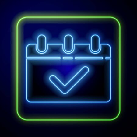 Glowing neon Calendar with 8 March icon isolated on blue background. International Happy Women Day. Vector Illustration