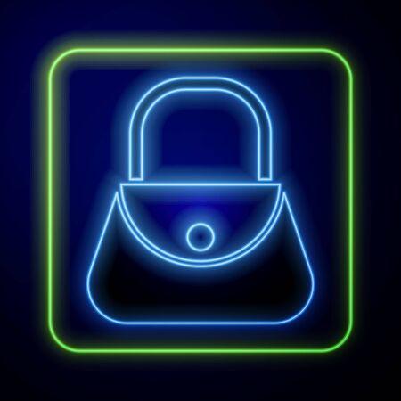 Glowing neon Handbag icon isolated on blue background. Female handbag sign. Glamour casual baggage symbol. Vector Illustration Иллюстрация