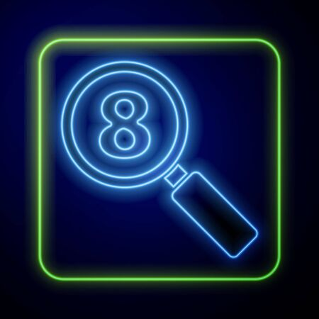 Glowing neon Search 8 March icon isolated on blue background. Magnifying glass sign. International Happy Women Day. Vector Illustration