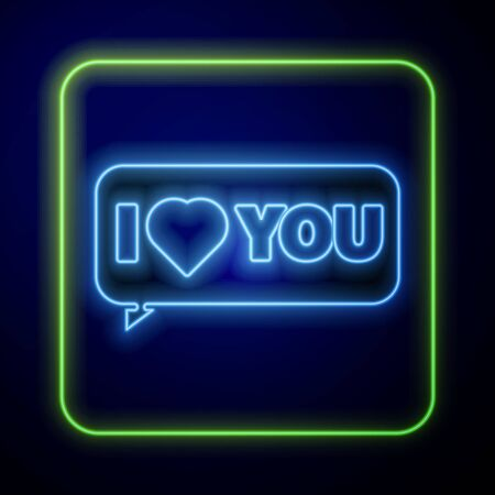 Glowing neon Speech bubble with text I love you icon isolated on blue background. 8 March. International Happy Women Day. Vector Illustration Çizim