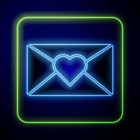 Glowing neon Envelope with 8 March icon isolated on blue background. Message love. Letter love and romance. International Happy Women Day. Vector Illustration