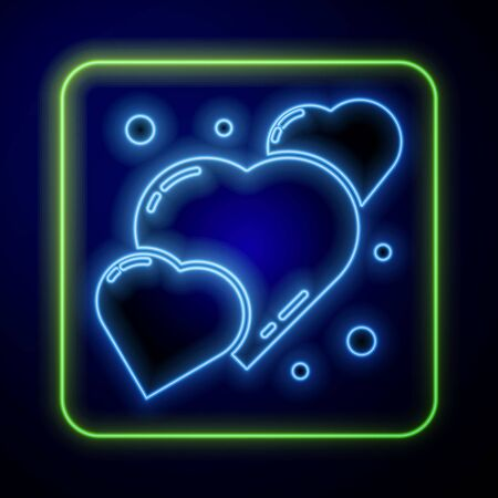 Glowing neon Heart icon isolated on blue background. Romantic symbol linked, join, passion and wedding. 8 March. Happy Women Day. Vector Illustration
