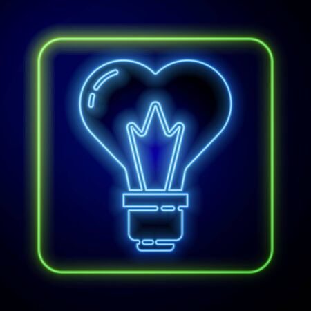 Glowing neon Heart shape in a light bulb icon isolated on blue background. Love symbol. 8 March. International Happy Women Day. Vector Illustration