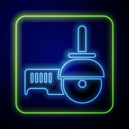 Glowing neon Angle grinder icon isolated on blue background. Vector Illustration