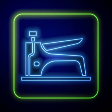 Glowing neon Construction stapler icon isolated on blue background. Working tool. Vector Illustration