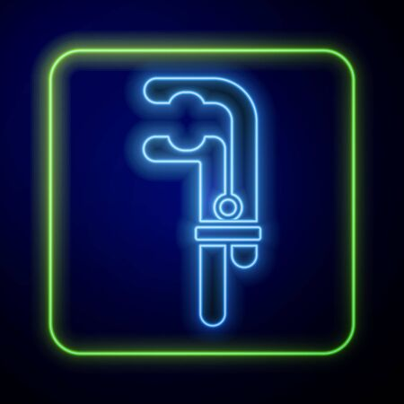 Glowing neon Clamp tool icon isolated on blue background. Locksmith tool. Vector Illustration