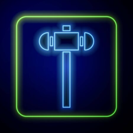 Glowing neon Sledgehammer icon isolated on blue background. Vector Illustration