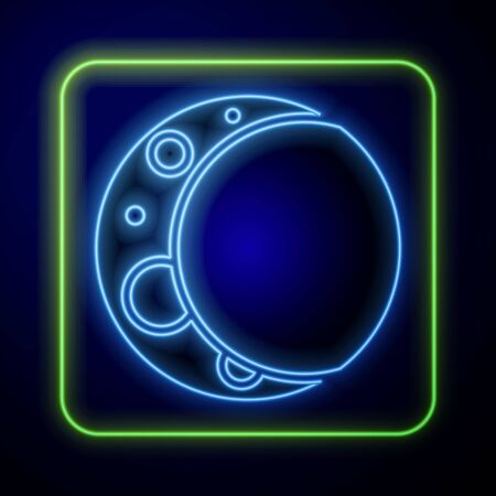 Glowing neon Moon icon isolated on blue background. Vector Illustration 向量圖像