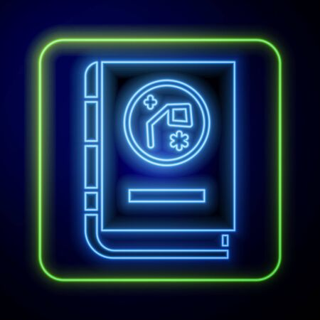 Glowing neon Book by astronomy icon isolated on blue background. Vector Illustration