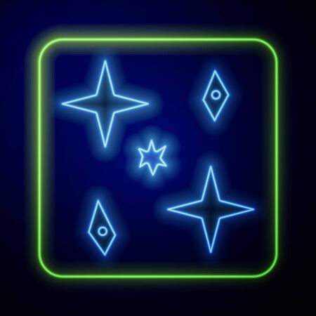 Glowing neon Falling stars icon isolated on blue background. Meteoroid, meteorite, comet, asteroid, star icon. Vector Illustration Çizim