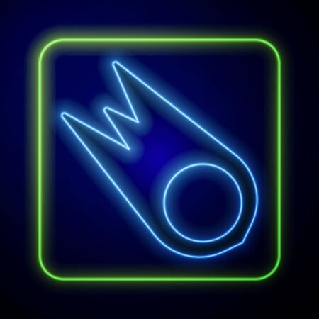 Glowing neon Comet falling down fast icon isolated on blue background. Vector Illustration Ilustración de vector