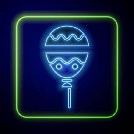 Glowing neon Balloons with ribbon icon isolated on blue background. Happy Easter. Vector Illustration