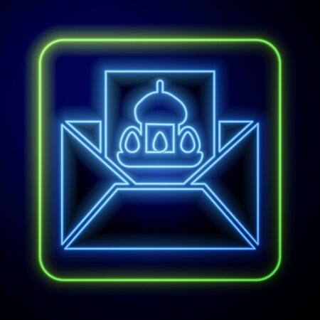 Glowing neon Greeting card with Happy Easter icon isolated on blue background. Celebration poster template for invitation or greeting card. Vector Illustration Çizim