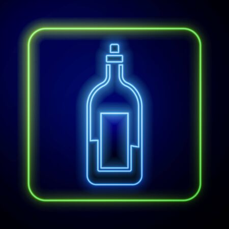 Glowing neon Bottle of wine icon isolated on blue background. Vector Illustration