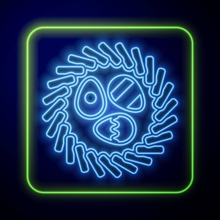 Glowing neon Easter egg in a wicker nest icon isolated on blue background. Happy Easter. Vector Illustration Çizim