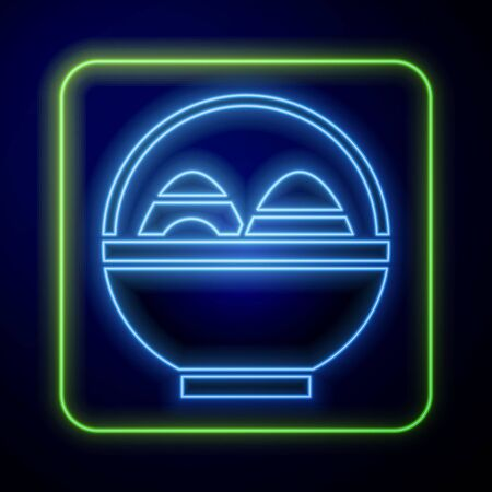 Glowing neon Basket with easter eggs icon isolated on blue background. Happy Easter. Vector Illustration